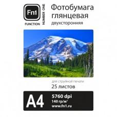 Фотобумага глянцевая двусторонняя 140гр/м, А4 (21х29.7), 25л,  Fn1